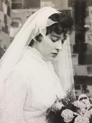 Blushing bride: Mary on her wedding day