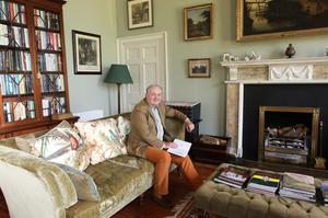 Noel Lamb in the library at Finnebrogue House