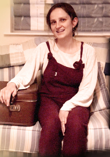Novel idea: singer Hannah McPhillimy with the suitcase owned by June Miller