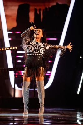 Singing star: Brooke Scullion performing on The Voice UK