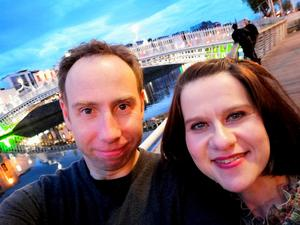Margaret with her husband near the Ha'penny Bridge