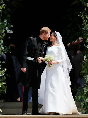 Stunning designs: Prince Harry and Meghan Markle on their wedding day