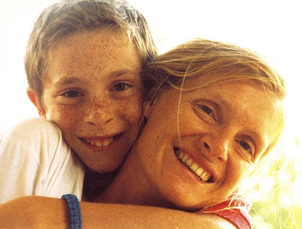 Family grief: Sophie Toscan du Plantier with her son Pierre-Louis Baudey-Vignaud in 1990