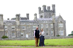 Lord and Lady Erne at their home in Crom Castle situated on the shores of the Upper Lough Erne in County Fermanagh. pictured with their dog Piglet . Photo by Peter Morrison