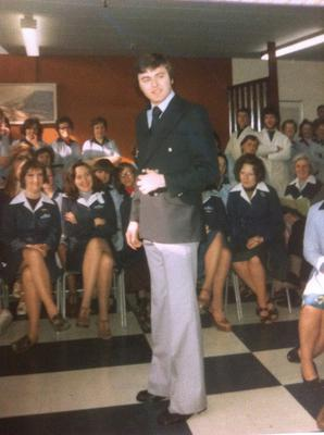 Sharp dresser: Joe modelling for BHS when he worked there in 1974