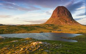 Suilven mountain at sunset in the Scottish Highlands