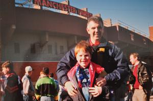 Birthday treat: 13-year-old Scott Edgar with his dad on an unforgettable day out to a match at Old Trafford