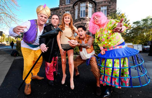 Festive fun: Rose-Marie with her fellow cast members who will be performing in the pantomime Aladdin at the Crescent next month