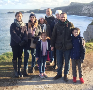 Amanda Davidson (second from left), husband Iain (second from right), children and her family visiting NI in 2017