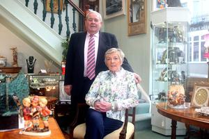 Eleanor with husband Sam at the antique shop