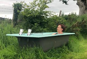 Staying calm: Mary in an ice bath