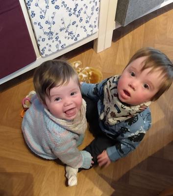 Double the fun: twins Iris and James