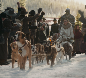 Wilderness trail: Omar Sy as Perrault, Cara Gee as Francoise and Buck on the dog sled team