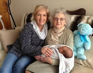 Mike's sister Norma, their mother Brenda and baby Max, who made Norma a grandmother and Brenda a greatgrandmother
