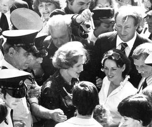The then Prime Minister Margaret Thatcher on a visit to Belfast