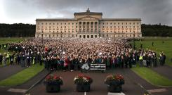 The silent March for the Voiceless protest outside Stormont