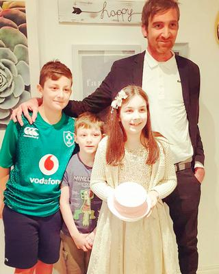 Paul with his children James, Sonny and Isabelle