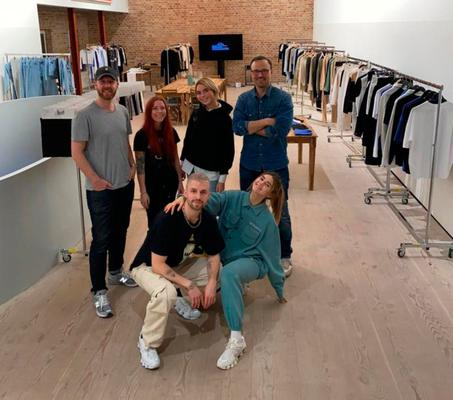 Lift off: Poppy (second left) with Nu-In's founding team Nathan Loofe, Elise Mikkelborg, Mike Mikkelborg (CEO), Marcus Butler and Stefanie Giesinger