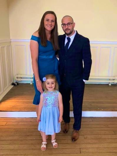 Sarah McFadden with her husband Damian and daughter Harper