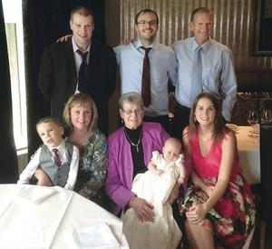 Ian with brother Alan, dad Billy, (front) son Oliver, mum Margaret, grandmother Iris, daughter Emily and wife Jennifer