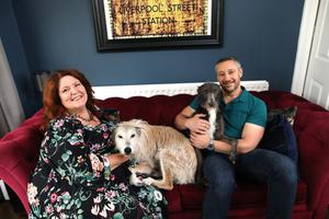 BBC radio and TV presenter Kim Lenaghan relaxing at home with husband Andrew and their dogs Mabel and Ben.  Photo by Peter Morrison