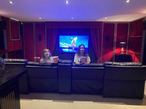 Dulcie Maguire (12) and cousin Daisy Hamilton (13) enjoy their favourite Disney movies at the home cinema