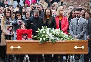 Mairead O'Neill's family and friends at her funeral