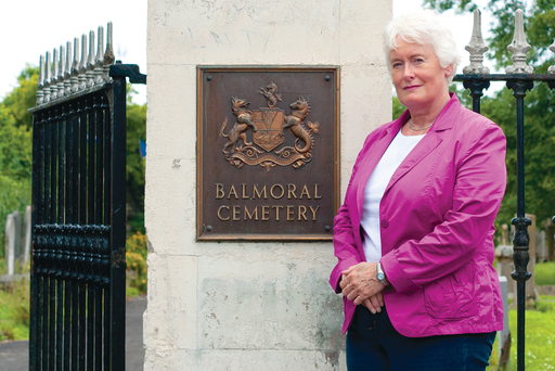 Grave matters: Margaret Mountford at Balmoral Cemetery in Belfast where Isabella Tod is buried. Tod was responsible for two major breakthroughs in women's rights in Northern Ireland.