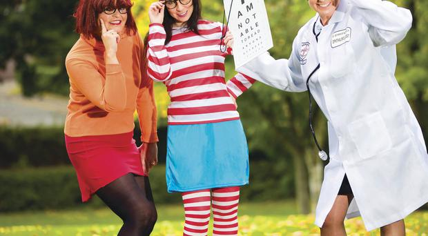 Looking good: sports journalist Denise Watson as Velma from Scooby Doo, radio presenter Emma Fitzpatrick as Wenda from Where's Wally and TV presenter Pamela Ballantine as a doctor