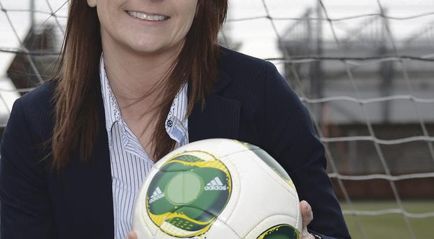 Kicking off: Sara Booth is keen to get more women involved in football
