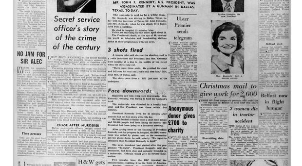 Belfast Telegraph's front page the day after JFK was assassinated in 1963. The process of putting newspapers together has changed significantly since this edition hit the stands more than 50 years ago