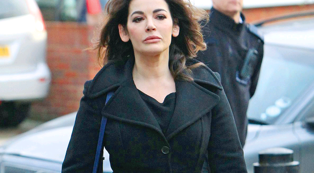 Nigella Lawson arrives at court yesterday