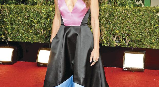 Sack the stylist: Neven Sandra Bullock can carry off this colour-blocking ballgown by Prabal Gurung