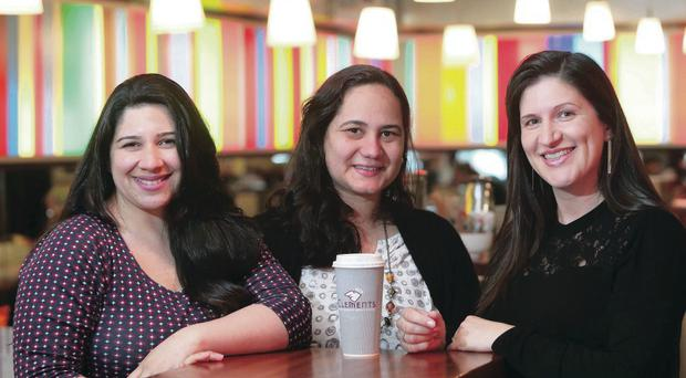 Cafe customers Michelle Amaram, Katia Taylor and Michelle Andrade