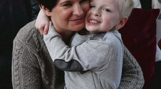 Getting better: Emma McCrea with son Charlie, who has been battling leukaemia