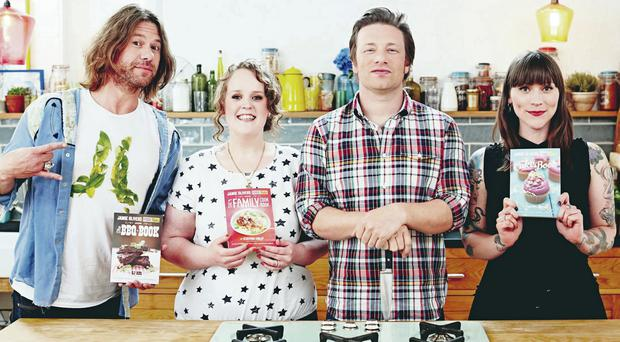 Cooking the books: Jamie Oliver with (from left) DJ BBQ, Kerryann Dunlop, Cupcake Jemma