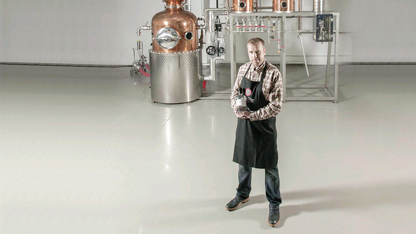 Proof positive: David Boyd-Armstrong in front of his enormous gin still