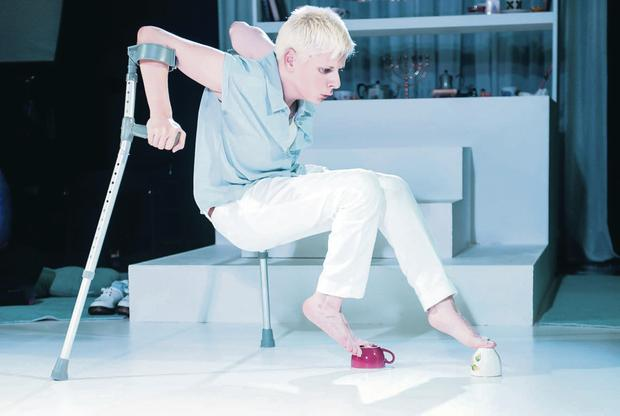 Support act: Claire Cunningham has worked her crutches into her stage show