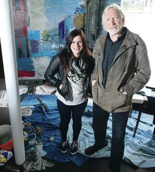 Studio time: Brian Ballard and daughter Lisa at their recent pop-up gallery in Belfast