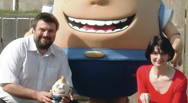 Bernard Sparkes and Patricia with the character from Shelltown
