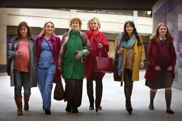 Pregnant pause: the cast of In The Club (from left) Jill Halfpenny, Christine Bottomley, Katherine Parkinson, Hermione Norris, Taj Atwall and Hannah Midgley