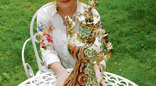 Tea time: Anne Marie Robinson with a teapot inspired by trees