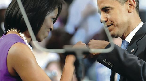 Right on: First Lady Michelle Obama made headlines when she bumped fists with her husband Barack