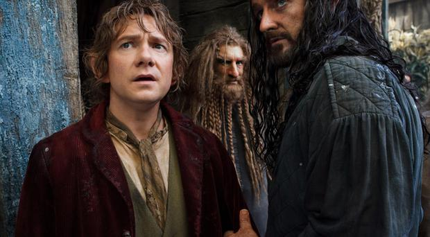Small wonder: from left, Martin Freeman, Jed Brophy and Richard Armitage in The Hobbit