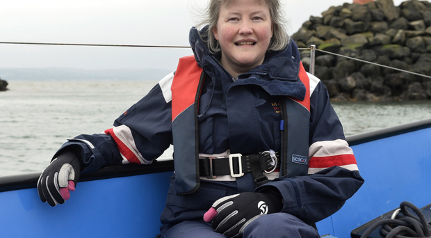 Getting shipshape: sailing fanatic Nicky Blythe at Carrick Sailing Club as she prepares to crew a boat in the Tall Ships event