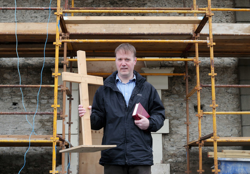 Building faith: Rev Graeme Kennedy at Ballygrainey Presbyterian Church, which is being renovated
