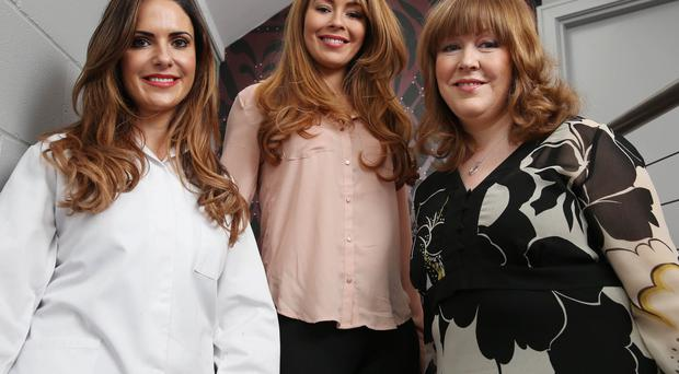 Take a brow: Skin Medi Spa owner Judith Mulgrew (left) with clients Nicola Bryce-Ward (centre) and Linda Sage