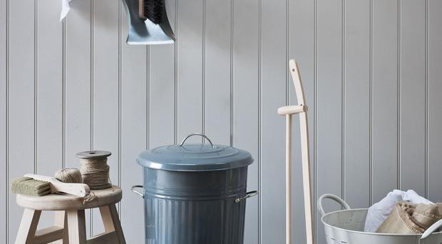 Kitchen bin and mini bin, compost bucket, dustpan and brush; hook rail and stool - Garden Trading