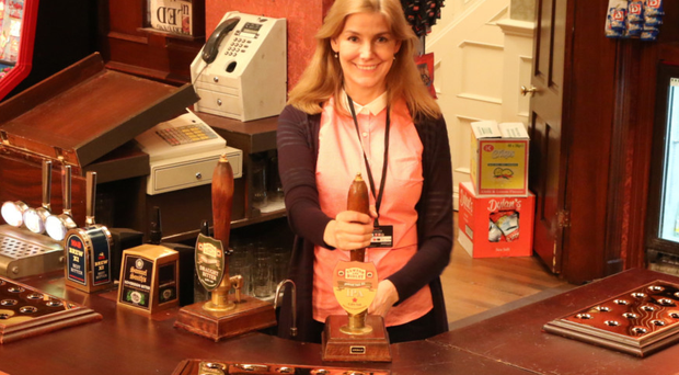 Una Brankin behind the bar in the Rovers Return