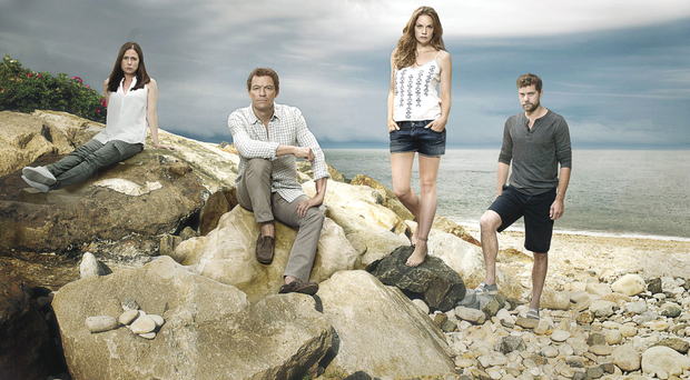 Dominic West (centre) and the other cast members of The Affair
